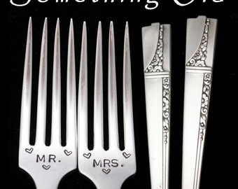 Stamped Wedding Forks Mr Mrs Fork Something Old Vintage Forks Engraved Flatware Hand Stamped Mr Mrs Gift for Couple