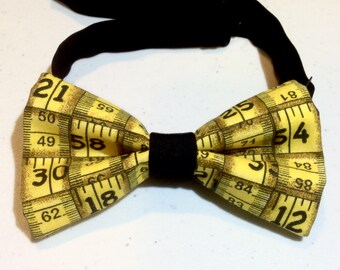 measuring tape bow tie men pre tied clip on neckband yellow black cotton wedding prom birthday gift fathers day present for dad
