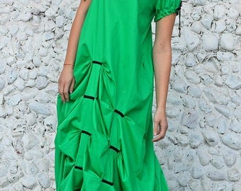 Extravagant Green Dress, Green Cotton Dress, Green Party Dress, Green Maxi Dress with Flounces TDK234 by TEYXO
