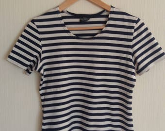 Vintage MARIMEKKO White and Blue Striped Cotton Jersey Short Sleeved T-Shirt