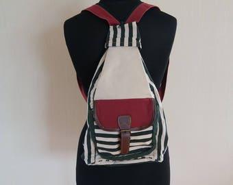 Vintage Canvas Striped Hiking Backpack