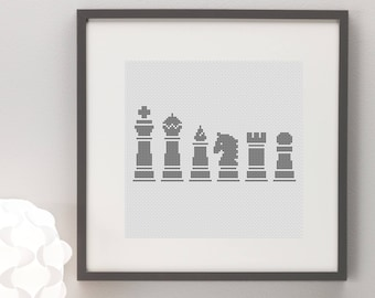 Chess Pieces Cross Stitch Pattern Simple