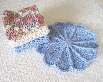 Handmade Dishcloth Set, Bridal shower gift, Crochet Cotton dishcloths in Cornflower blue, beige and Rose combination, gift for her