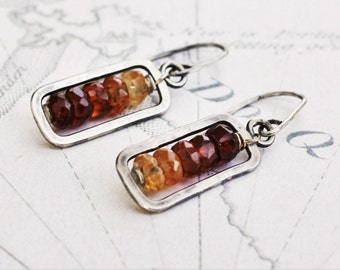 Hessonite garnet earrings, sterling silver earrings, oxidized silver dangle earrings, ombre earrings, made to order.