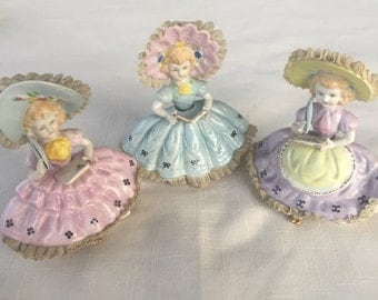 Set of three Lenwile Ardault vintage maiden southern belle Victorian women