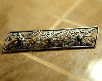 1940s vintage silver brooch, handcrafted filigree
