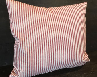"""Red Ticking Pillow Cover - square or rectangle - choose your own size up to 18"""""""