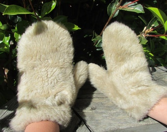 Furry mittens, vintage furry mittens, warm winter mittens, what big paws you have?