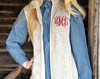 Monogrammed Charles River Vest, Heathered Oatmeal Fleece Vest