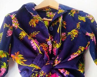 Vintage parrots seventy blouse