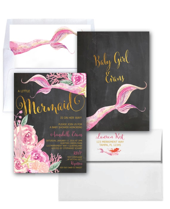 Baby Gifts Queensland : Mermaid baby shower invitation under the sea