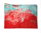 Makeup Bag in red, aqua and yellow, Cosmetic Bag or Zipper Pouch, Accessory Purse, Make up Purse, Pencil Case, Stocking Stuffer, Bon Temps