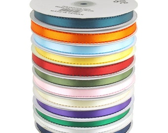 Picot Edge Feather Double Faced Satin Ribbon, 3/8-Inch, 50 Yards