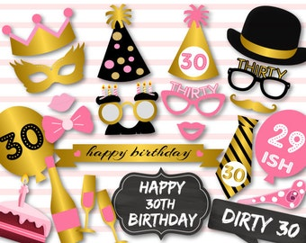 Instant Download 30th Birthday Party Photo Booth Props, Dirty Thirty Photo Booth Props, Chic Pink, Black and Gold Birthday Party Props, 0405