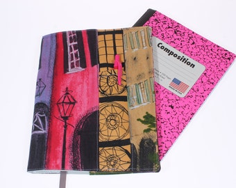 composition notebook cover Paris, fabric journal cover, bullet journal cover, book cover, school comp notebook cover, school supply