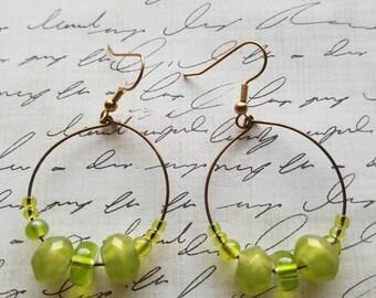 Gold Hoop Earrings Gifts for Her Statement Earrings Green Hoop Earrings Dangle Earrings Gifts for Teens Glass Bead Earrings Handmade