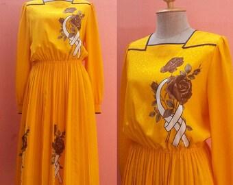 Yellow Dress 1980s Dress 80s Summer Dress Vintage Sundress Day Dress Retro Dress Japanese Dress Floral Dress Pleated Midi Dress Long Sleeve