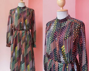 Floral Dress Womens Summer Dress Vintage Day Dress 1980s Dress Retro Dress Tea Dress Boho Dress 80s Dress Black Chiffon Dress Long Sleeve