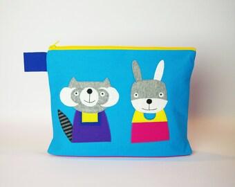 """Diaper bag/cosmetic bag """"Raccoon and rabbit"""""""