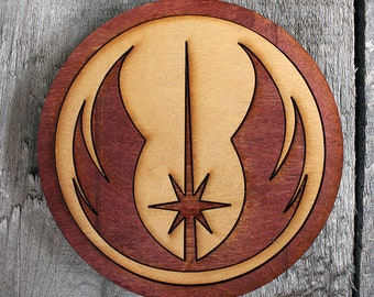 Jedi Wood Coaster | Rustic/Vintage | Hand Stained and Glued | Comic Book Gift | Star Wars