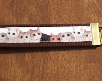 Cat Key Chain Wristlet  Zipper Pull