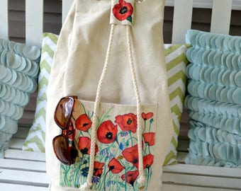 Hand Painted Drawstring Backpack