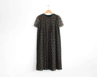 Vintage black and ivory lace short sleeve midi dress with detachable neck tie