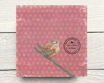 Wren Bird Print on Hardboard Canvas by Andrea Holmes