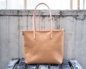 Natural Vegetable-tanned Leather Zip-top Tote
