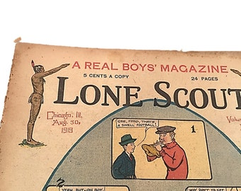 Vintage Newspaper    Lone Scout    The Real Boys Magazine    August 30 1919    Photos by PET    Beginning a Dandy Football Serial