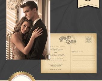 Vintage Wedding Invitation Postcard, Wedding Invite, Photo Invitation, Vintage Postcard - Printable, Digital file, DIY