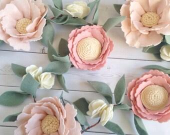Pink Nursery Decor - Felt Flower Garland - Floral Nursery Decor - Girl Baby Shower Decor - Pink Nursery Garland - Baby Shower Garland
