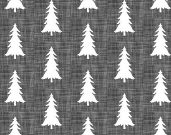 "Charcoal gray pine tree forest 3 sided 13"" drop crib skirt"