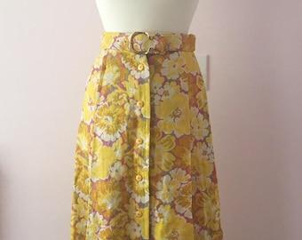 1960s 1970s Maxi Skirt | Button Front Flower Power Skirt | Size 10