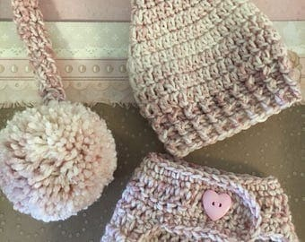 Baby girl hat and diaper cover set, newborn girl hat and diaper cover, baby girl pink stocking hat and diaper cover, baby girl shower gifts