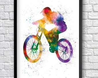 Mountain Bike watercolor print, Downhill Biker, Cyclist Print, Sport Poster, MTB Wall art, MTB freerider, Freeride jump decor, Bycicle Art
