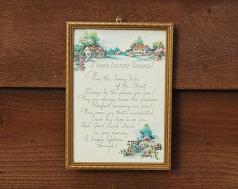 Buzza Motto Art,  Antique Happy Lifetime Motto Art, Cottage Art, Vintage Greeting or Gift