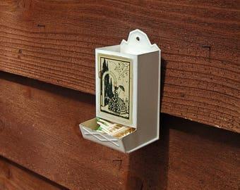 Tin Match Holder, Vintage Match Box Holder, Ivory Painted Match Box, Cottage Kitchen Match Safe, Tinware Stick Match Keeper