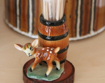 Vintage bone china figure of a sweet little deer on a patch of grass with barrel Tooth Pick Holder on a piece of Californian Muir Wood