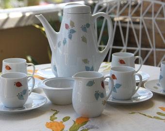 Vintage Mid Century Mod Ceramic Thomas of Germany Coffee SET Designed by Swedish Prince Sigvard Bernadotte  SET of 6 cups