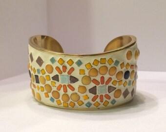 Mosaic multicolor mini tiled cuff bracelet