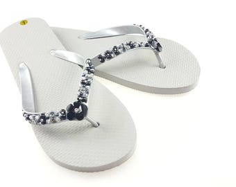 Women's black and gray flip flops rhinestones