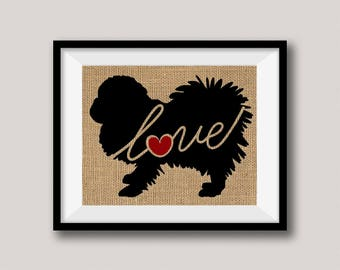 Pekingese Love - Burlap or Canvas Paper Dog Breed Wall Art Home Decor Print Gift for Dog Lovers - Can Be Personalized with Name (101s)