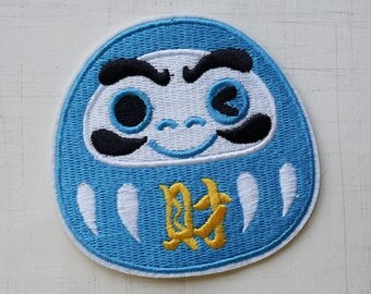 8 x 7.4 cm, Japan Doll - Blue Wealthy Daruma Iron On Patch (P-497)