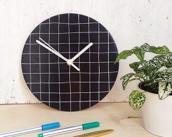 SALE   Minimalist wall clock   modern black and white grid pattern   hand painted home decor   monochrome homeware