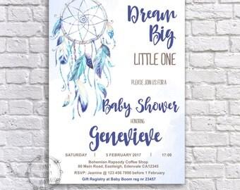 Boho Baby Shower Invitation, Dream Catcher Blue Invitation, Baby Shower Invitation, Baby Shower Invitation, Customized, Printable