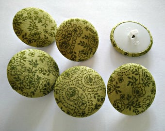 Fabric Buttons - Green floral quilt fabric - Fabric Covered Buttons