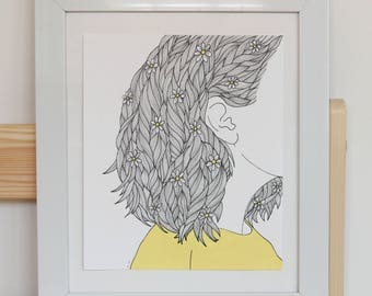 Girl in Yellow Illustration (FRAME NOT INCLUDED)