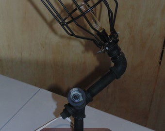 Steampunk Black Iron Pipe Lamp w/cage shade