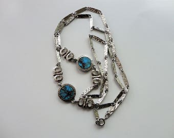 Vintage Sarah Coventry Simulated Turquoise Chain Necklace